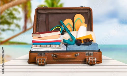 Poster de jardin Inde Retro suitcase with travel objects on sea background