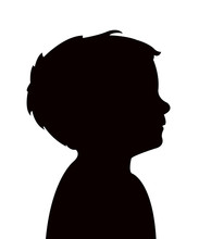 A Baby Boy Head Silhouette Vec...