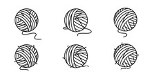 Yarn Ball Vector Icon Balls Of Yarn Knitting Needles Cat Toy Symbol Cartoon Illustration Doodle