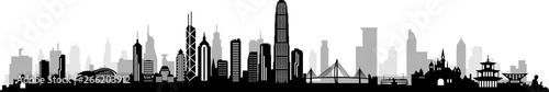 HongKong City Skyline Vector Wallpaper Mural