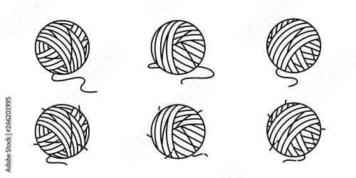 Obraz na plátne yarn ball vector icon balls of yarn knitting needles cat toy symbol cartoon illu
