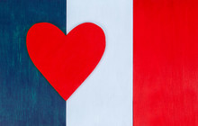 French Flag And Heart, Love Fo...
