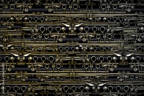 Fotografija Clarinet Parts Grouped As A Horizontal Background
