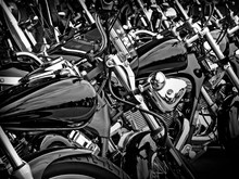 Line Up Of Parked Motorcycles