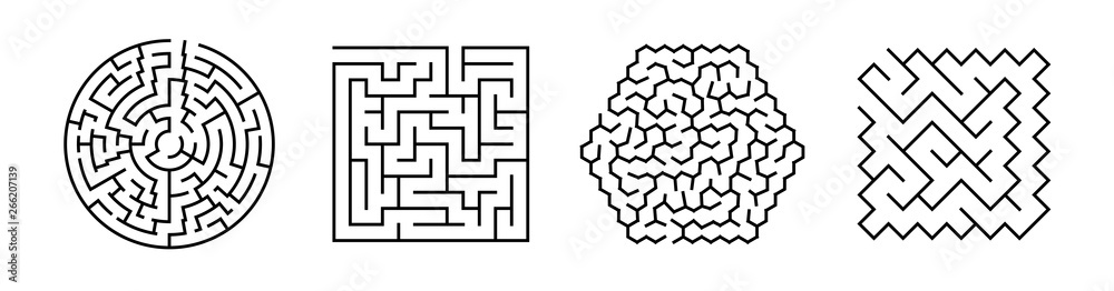 Fototapeta Set Of Vector Mazes. Geometric Outline Labyrinth Illustrations