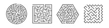 Set Of Vector Mazes. Geometric Outline Labyrinth Illustrations