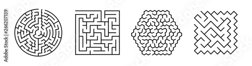 Cuadros en Lienzo Set Of Vector Mazes. Geometric Outline Labyrinth Illustrations