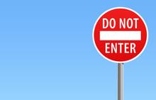 Do Not Enter Road Sign Blue Sky Vector Illustration