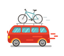 Funny Minibus Traveling With A Bike In A Cartoon Style. Flat Vector Illustration