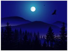 Panorama Of Mountains. Moonlig...