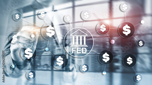 Fotografiet FED federal reserve system usa banking financial system business concept