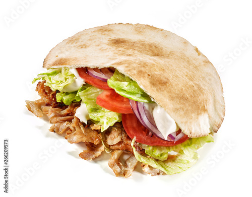 Wall Murals Snack doner kebab on white background