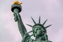 Nice View On Isolated Statue Of Liberty New York. Beautiful Backgrounds.