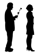 Man Saying Sorry And Giving A Rose To Offended Woman.  Woman Ignore Apologize And Turning Her Back To Man.