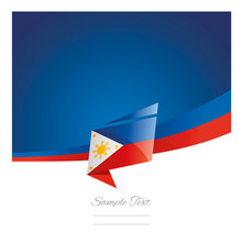 New Abstract Philippines Flag Ribbon Origami Blue Background Vector
