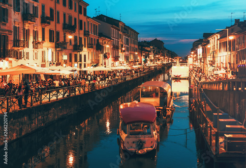plakat Naviglio Grande canal at the evening. Milan, Italy.