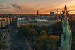 Beautiful aerial view of Riga over old town, statue of liberty and national library. Beautiful Latvia.
