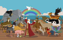 Noah's Ark And Animals And Dov...