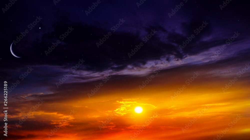 Fototapety, obrazy: Crescent moon with beautiful sunset background . Generous Ramadan . Light from sky . Religion background .