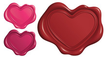 Wax Seal Stamp In Heart Symbol Shape_Vector EPS 10