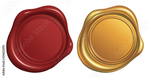 Foto Wax Seal Stamp, Red and Golden_Vector EPS 10