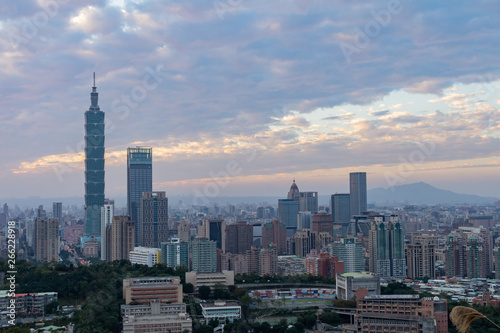 Canvas Prints Kuala Lumpur Aerial view of the Taipei 101 and cityscape from Xiangshan