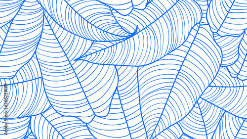 Foliage seamless pattern, Philodendron orange leaves line art ink drawing in blue and white