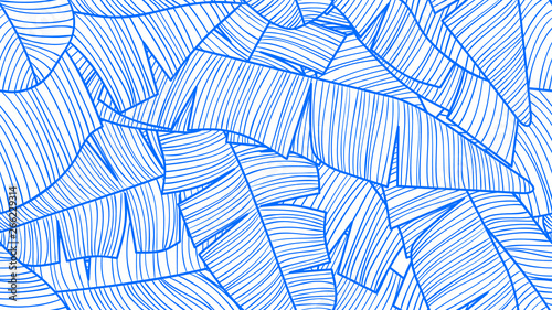 Foliage seamless pattern, banana leaves line art ink drawing in blue and white