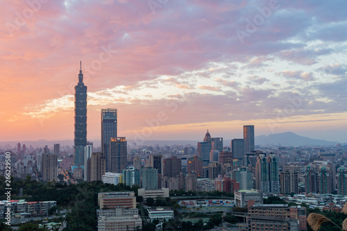 Canvas Prints Kuala Lumpur Sunset Aerial view of the Taipei 101 and cityscape from Xiangshan
