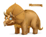 Fototapeta Dinusie - Triceratops, ceratopsid dinosaur cartoon character. Funny animal 3d vector icon