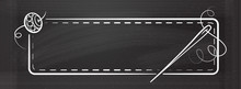 Vector Vintage Horizontal Rectangle Frame With Hand Made Tools On A Chalkboard Background