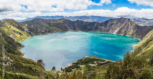 Beautiful panoramic scenery at Quilotoa lake in Quilotoa, Ecuador Canvas Print