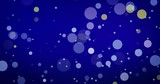 Golden confetti and bokeh lights on the blue Merry Christmas background. - 266243380