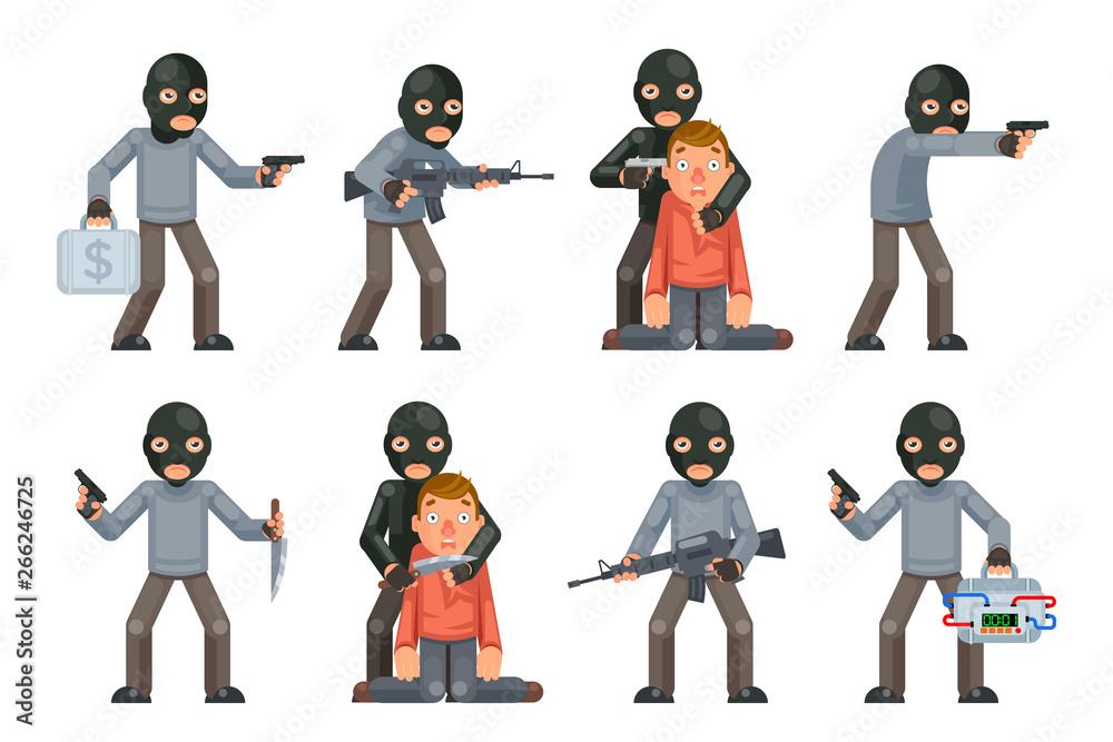 Fototapeta Terror danger risk soldier hostage threat villain terrorist weapon attack criminal character cartoon flat design isolated set vector illustration