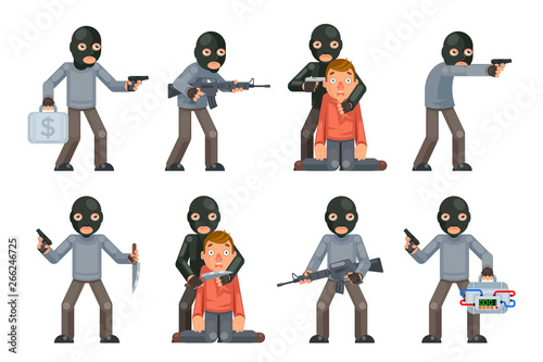 Fototapeta Terror danger risk soldier hostage threat villain terrorist weapon attack crimin