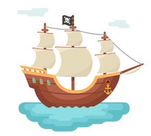 Wooden Boat Pirate Buccaneer Sailing Filibuster Bounty Corsair Journey Sea Dog Ship Game Icon Isolated Cartoon Flat Design Vector Illustration