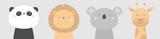 Fototapeta Fototapety na ścianę do pokoju dziecięcego - Koala Panda bear Giraffe Lion face head icon set. Kawaii animal. Cute cartoon character. Funny baby kids print. Love Greeting card. Flat design. White background. Isolated.