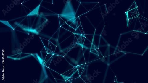 Photo Stands Fractal waves 3d abstract digital technology background. Futuristic sci-fi user interface concept with gradient dots and lines. Big data, artificial intelligence, music hud. Blockchain and cryptocurrency.