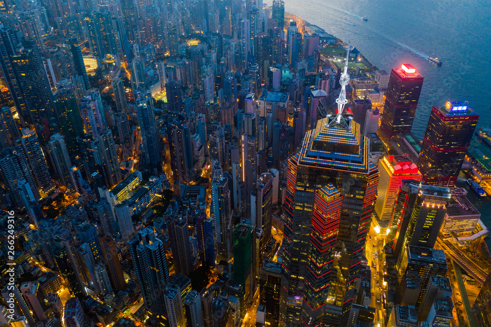 Fototapety, obrazy: Aerial view of Hong Kong urban city at night
