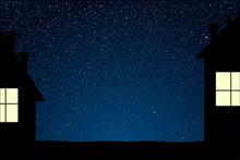 House On Starry Night Blue Sky. Neighborhood.