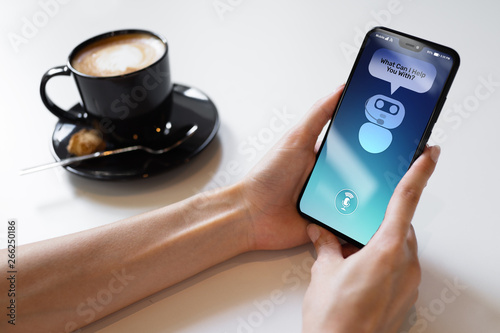 Fototapety, obrazy: Customer and chatbot dialog on smartphone screen. AI. Artificial intelligence and service automation technology concept.