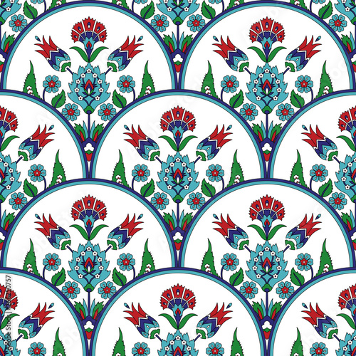 Ottoman iznik tile design with tulip flowers. Oriental background for wallpaper, backdrop, home textile, curtain fabric.