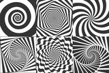 Hypnotic spiral. Swirl hypnotize spirals, vertigo geometric illusion and rotating stripes round pattern vector illustration set