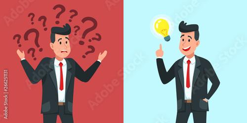 Fototapeta Businessman find idea. Confused business worker wonders and finds solution or solved problem cartoon vector illustration obraz