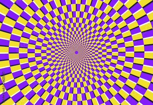 Fototapeta premium Złudzenie optyczne spirali. Magiczny wzór psychodeliczny, iluzje wirowe i hipnotyczny streszczenie ilustracji wektorowych