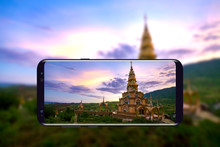 Holy Relics Pagoda In Wat Phra Thart Pha Sorn Kaew Take A Photo By Mobile Phone, That Are Temple Landmark In Khao Kho, Phetchabun Province Thailand.