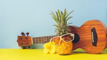 Yellow Ripe Pineapple In Sungl...
