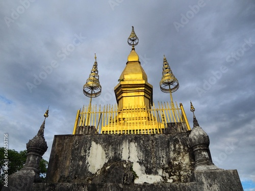 Valokuva  Golden momument on the top of Mount Phousi in Luang Prabang