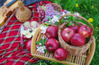Picnic on the grass. Red apples in a basket, a bottle of wine, lilac flowers, apple flowers,