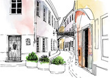 Fototapeta Uliczki - Old city street in hand drawn line sketch style. Urban romantic landscape. Vilnius. Lithuania. Black and white vector illustration on watercolor background
